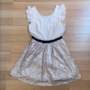Peach dress w/sequin bottom